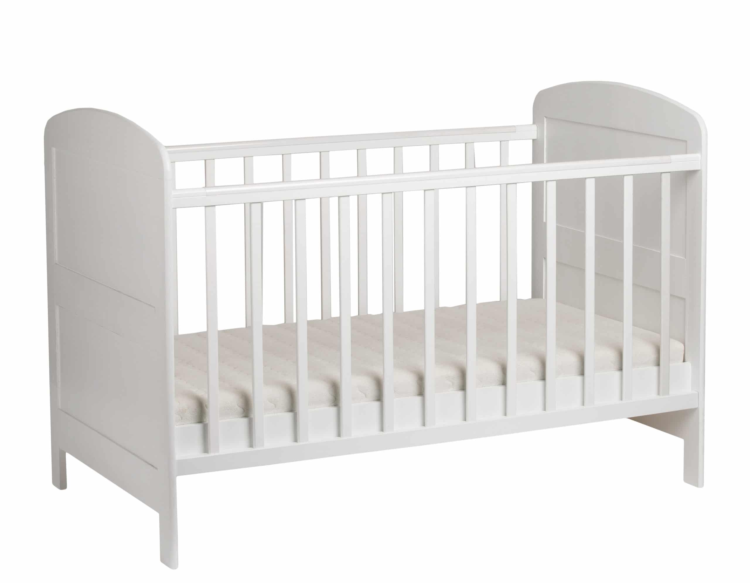 Furniture. White crib for kids with mattress isolated on white background