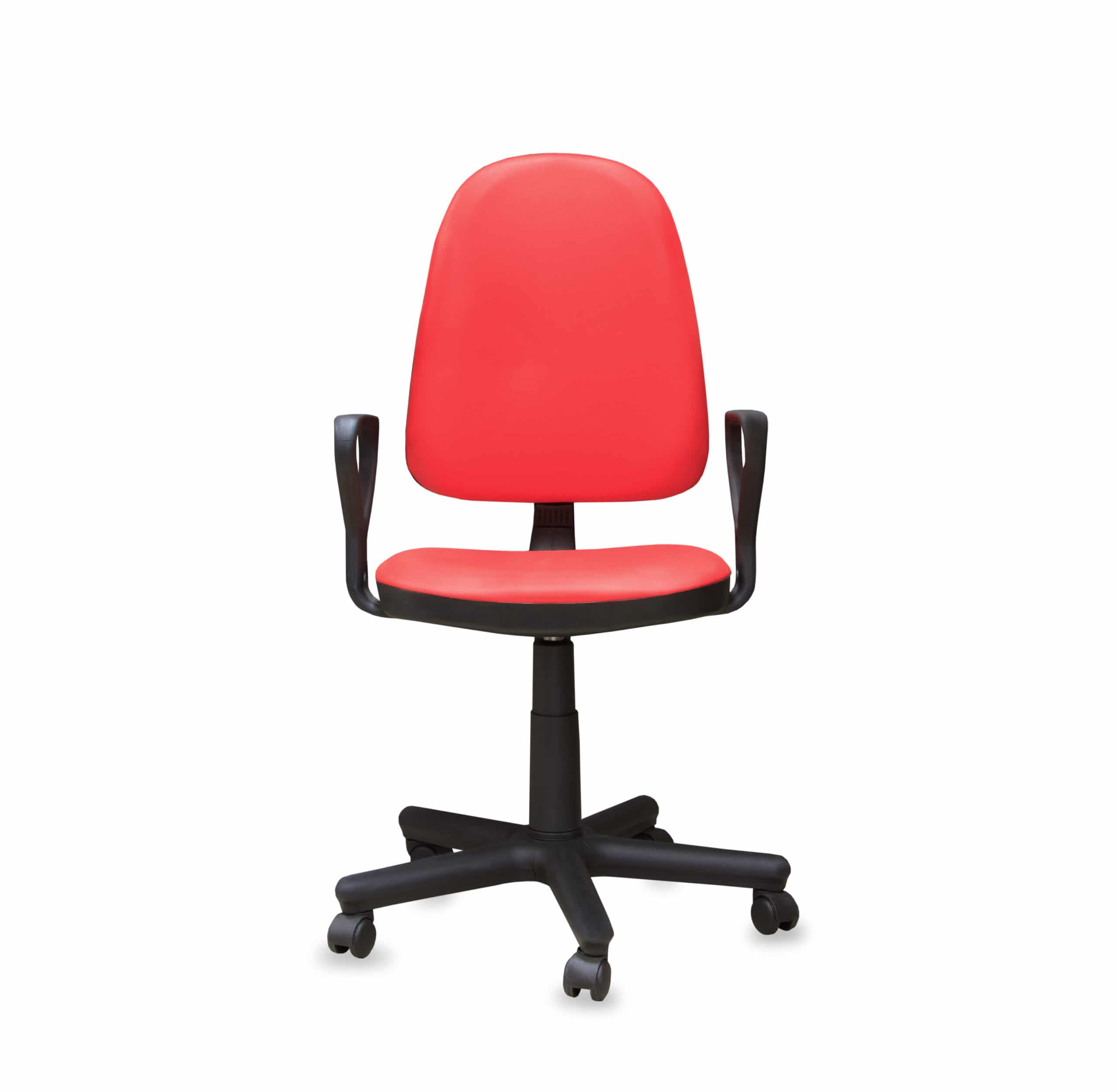 Modern office chair from red leather